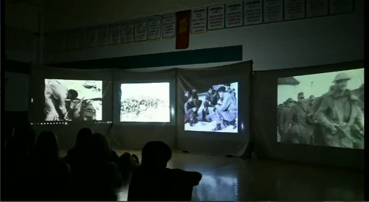RCI Gr. 9-12 Students watch a Remembrance Day Presentation to Remember